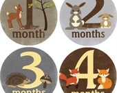 Monthly Bodysuit Baby Growth Stickers - Woodland Critters - Milestones, Photo, Neutral, Forest Creatures