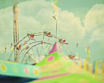 BUY 2 GET 1 FREE Carnival Photography, Ferris Wheel, Dreamy, Pastels, Nursery Decor, Kids Room, Yellow Green, Clouds - Ferris Dreams