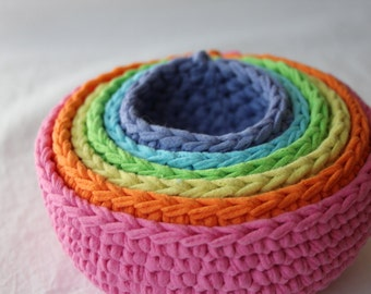 montessori pastel roygbiv nesting bowls made from crocheted up-cycled t-shirts by yourmomdesigns. waldorf play puzzle