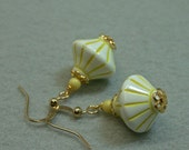 Vintage Italian Yellow White Dangle Drop Lucite Bead Earrrings ,Gold ear wires