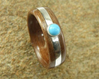 Bentwood Ring Walnut with 2mm Sterling Silver inlay and 3mm Turquoise stone