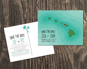 Hawaii Save the Date, Destination Wedding Save the Date, Wedding Save the Dates, Destination Wedding, Map Save the Date