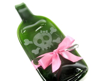 Girly Skull Melted Wine Bottle Cheese Tray with Pink Ribbon by Mitchell Glassworks Pittsburgh PA