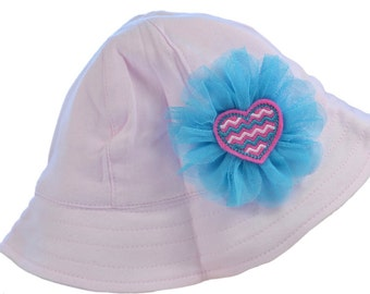 Sun Hat with Chin Strap Featuring an Embroidered Chevron Heart and Tulle Flower
