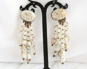 Gold White Bead Chandelier Earrings Pierced Vintage Long Shoulder Brushing Arts and Crafts Dangles