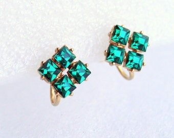 Green Square Rhinestone Earrings Vintage 1950 Square Emerald Green Screw back Mad Men