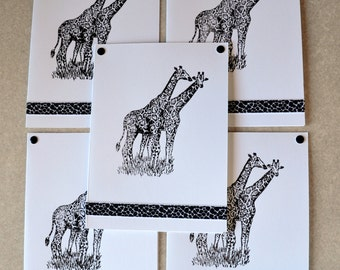 GIRAFFE zoo note cards card gift hand crafted 5 pack