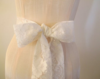 Soft White Lace Sash Wedding Sash  - ready to ship
