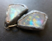Shimmer beach glass earring pair with solder and flash. Faux Roman glass. 11