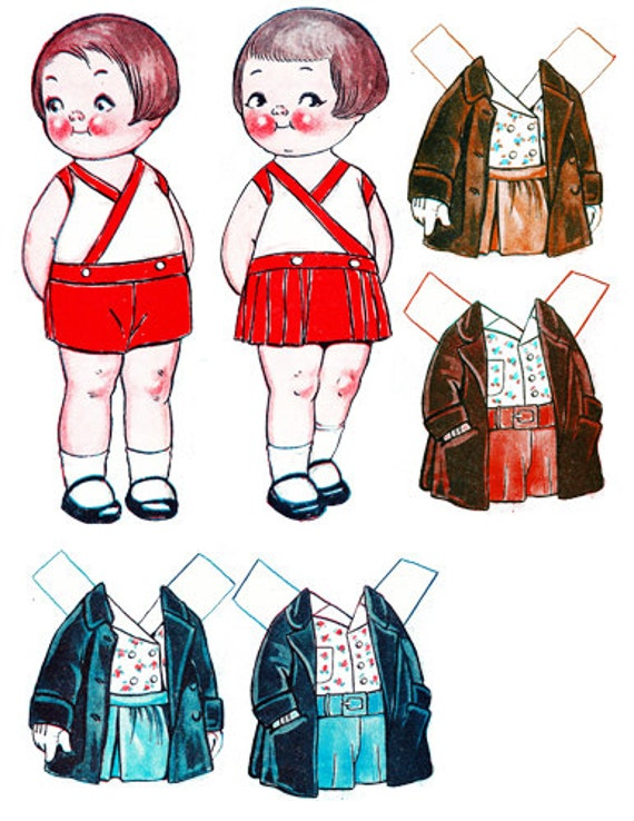 dolly Dingle girl boy printable paper doll printing clothes set clip art paper doll printables kids gift childrens craft supplies printables