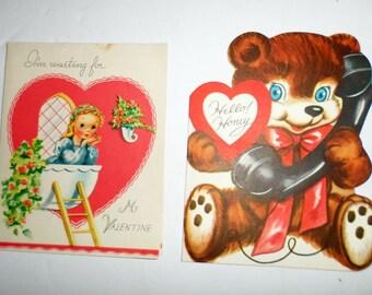 Vintage Valentine Cards - Teddy Bear Valentine - Romeo and Juliette Valentine - Unused Valentines - Valentine Greeting Cards - Whit Card