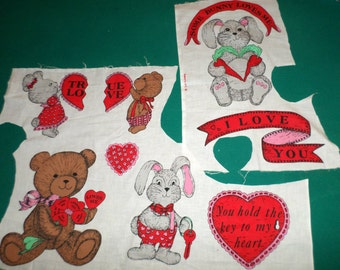 Valentines Applique Fabric - Hearts Bears Bunnies Love Appliques - Craft Supply - Sewing Supply - Make Appliques
