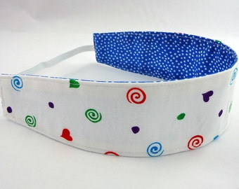 READY TO SHIP child reversible headband, baby headband,toddler cloth headband, hair blue navy white dot heart swirl girl party favor gift