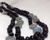 Faceted Onyx Labradorite and Sterling Silver Knotted Long Necklace