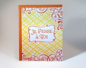 Letterpressed French Thinking Of You Card