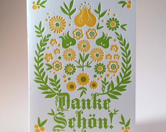 Letterpress German Thank You Card - Alpine Green and Yellow