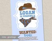 Cowboy Birthday Party Invitations - Vintage Cowboy Bandana hat wanted Birthday Party Invite (Printable Digital File)