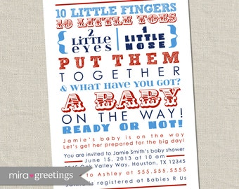 10 Little Fingers Nautical Baby Shower Invitation -  Printable Digital File