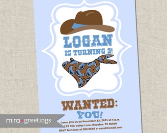Cowboy Birthday Party Invitations - Vintage Cowboy Bandana hat wanted Birthday Party Invite (Printable Digital File)