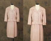 Clearance SALE vintage 50s Suit - 1950s Pink Skirt Suit Skirt and Blazer Set Sz S