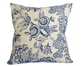 French Country Accent Pillow, 14x18, Taupe Blue Floral Pillow Cover, Blue Flowers, Decorative Sofa Pillows, Cottage Decor, SALE