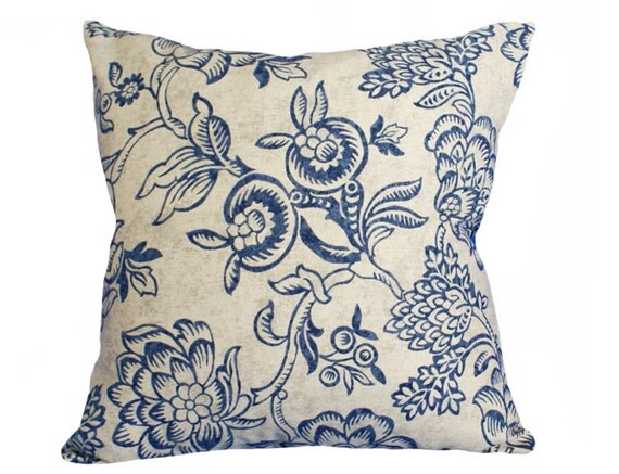 French Country Pillow, Navy Blue Taupe Floral Pillow Cover, Blue Flowers, Decorative Throw Pillows, Country Decor, 18x18, 45x45 cm, SALE