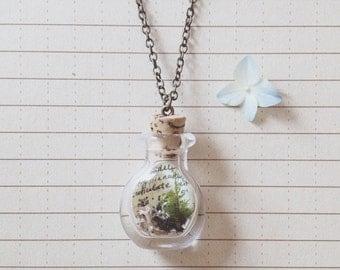 Field Notebook Necklace - hand blown glass vial