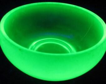 Fenton Glass Green Glass Bowl Dish Iridescent Florentine Stretch Cupped Round Rim
