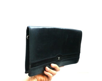 H French Vintage Black Leather Suede Clutch