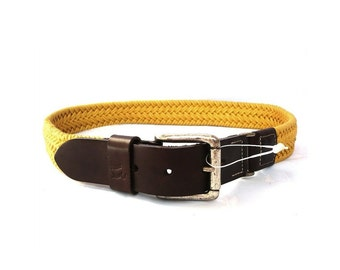 JEZEQUEL French Vintage Mustard Yellow Woven Belt