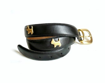 CHIPPIE French Vintage Black Leather belt with Gold Dog Charms