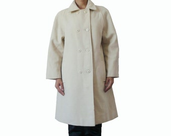 French Vintage 60s Ivory Wool Coat