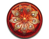 Rhinestone Studded Gold Flower on Red Czech Glass Button Top Cabochon 38mm