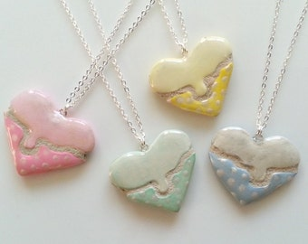 Dripping Heart Mosaic Tile Necklace Pastel Colors with Stripes and Polka Dots