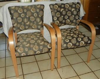 Pair of Retro Birch Armchairs / Chairs (AC139)