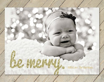 Custom Photo Christmas Card - Merry Glitter