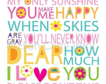 Kids Wall Art- You are my sunshine girls print
