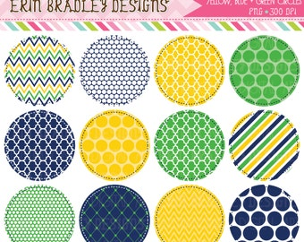 50% OFF SALE Yellow Blue and Green Circle Frames Clipart Clip Art Personal & Commercial Use