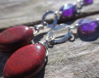 Wire Wrapped Red Jasper and Purple Amethyst Stone Earrings