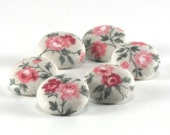 Fabric Buttons - Little Roses - 6 Small Pink, Green Roses and Flowers Fabric Covered Buttons, Flowers Fabric Button for Sewing, Quilting