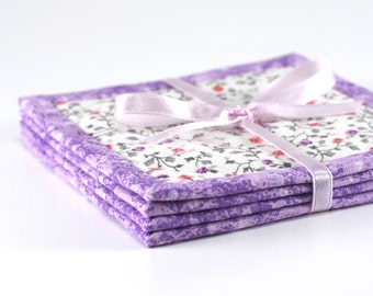 Fabric Coasters - Lovely Purple Flowers - 4 Reversible Mini Quilts Candle Mat Set - Pink and White Floral Coasters