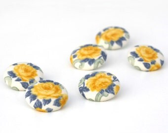 Sewing Buttons - Yellow Roses - 6 Medium Yellow Blue White Chic Floral Buttons, Shabby Fabric Covered Buttons, Fabric Buttons Set, Retro