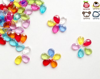 Bead, beads, drop, drops, plastic, flower, craft, crafting, pink, blue, red, yellow, green, supplies, assorted, crystal-liked, small