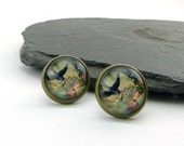 Love Letter. Glass Cabochon ear posts with lovely romantic and vintage dove and flower image. Aged brass setting. Nostalgic ear jewellery.