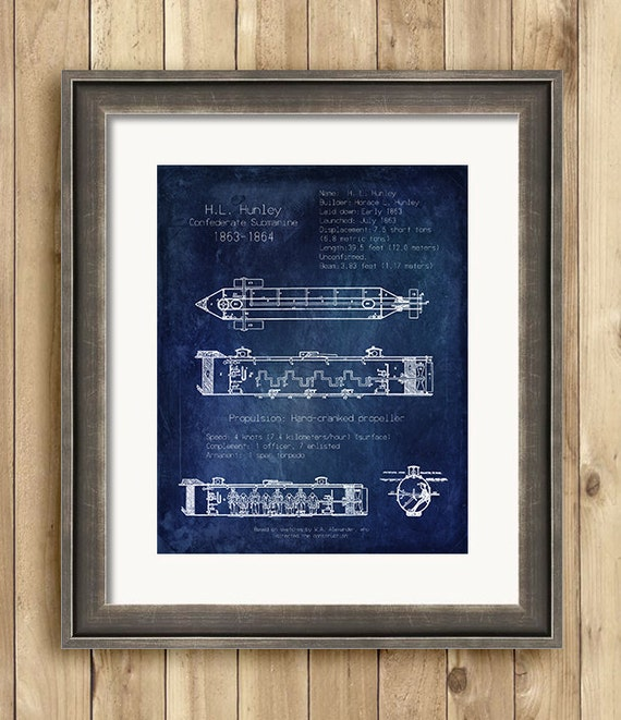 H l hunley submarine blueprint art nautical art by for Anchor decoration css