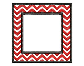Chevron Square Frame Monogram Font Machine Embroidery Designs Instant Download 4x4 and 5x7