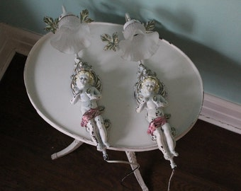 Shabby Chic Vintage Cherub Sconce Pair Hand Painted Pink White Distressed Country Cottage Prairie