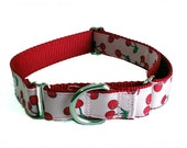 Red Cherry Dog Collar, Martingale, Leash or Harness