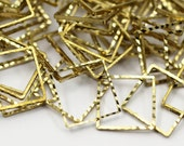 1300 Raw Brass Textured Square Findings  (16 mm)