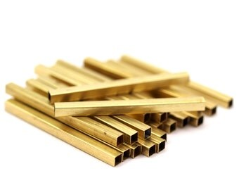 Geometric Tube Beads, 24 Raw Brass Square Tubes (40x3x3mm) Sq01 Brc284
